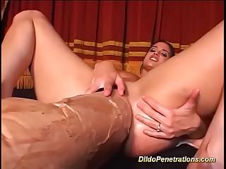 monster dildo deep inside the brush wet pussy