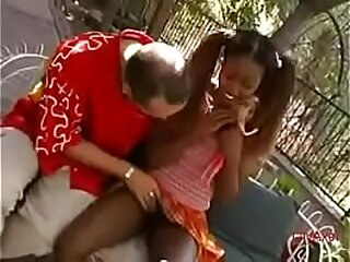 A sinister cute teen 18 discretion old has a great fuck alfresco bounces on a white dick