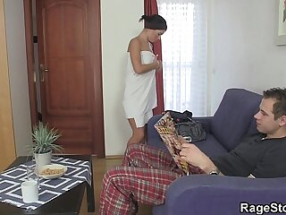 Forced blowjob and fianc' after shower