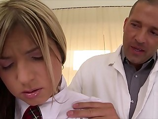 Schoolgirl Gina gets rock hard cock anal ride on clinic's inquiry table