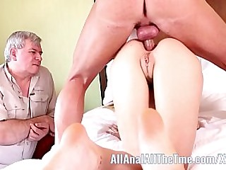 Teen lets dad watch anal