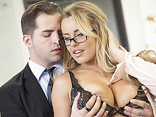 Horny secretary Corinna Blake gets fucked hard in the tryst