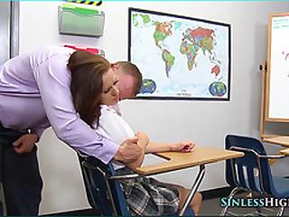 Schoolgirl pressed around cock