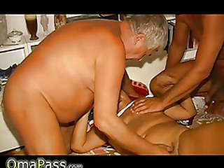 Old Granny has sex with two aged men
