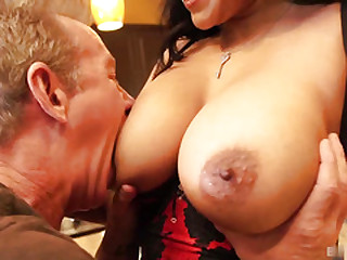 Hard fuck with titillating latina brunette mature in lingerie