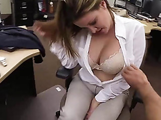 Busty Blonde lady gets big cash for sex inside of the pawn shop office by the CPA
