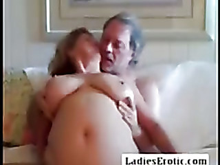 Old man with very old granny on webcam skype