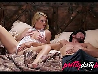 Blonde lets dad play with her while hes pretending to s.