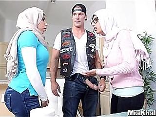Hijab girls suck american biker cock